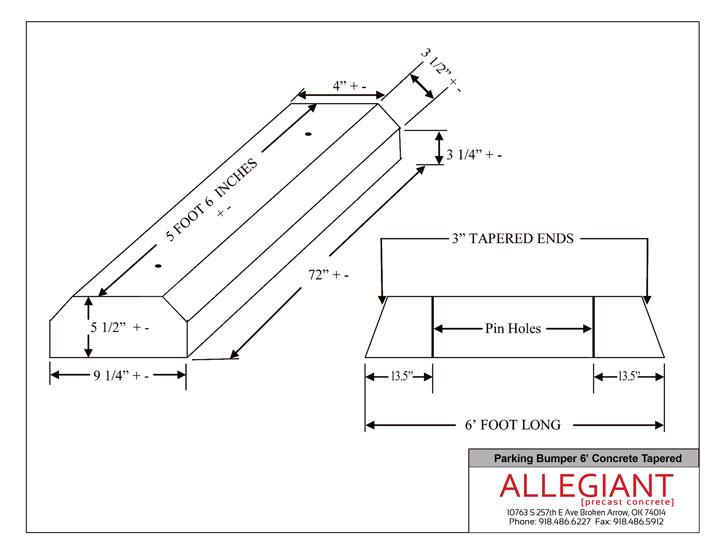 Precast Concrete Wheel Stop Standards : Allegiant precast parking bumper tapered concrete cutsheet