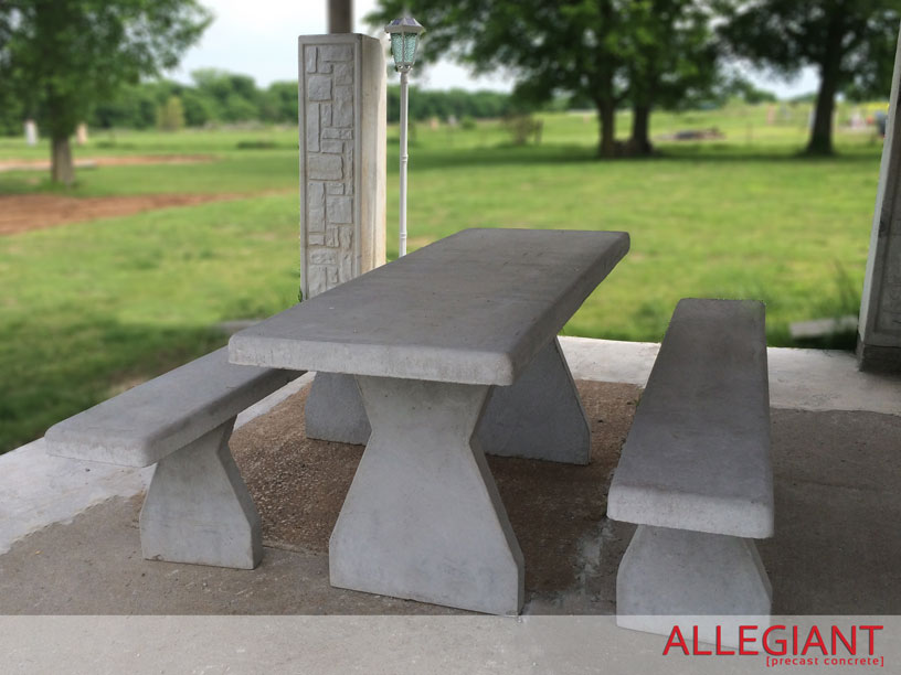 Allegiant Precast Concrete Picnic Table With Benches - Concrete picnic table forms